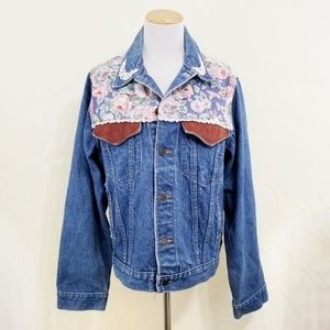 Vintage Denim Jacket floral cabbage roses lace LG